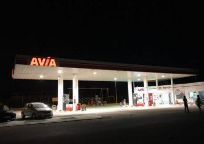 """Mejoras en la iluminación de la estación de servicio """"Avia"""" en Huelva."""